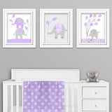 set of three lavender elephant nursery prints