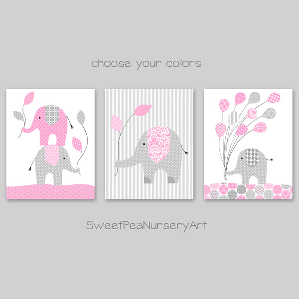 set of three elephant nursery pictures
