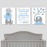 set of three elephant nursery prints in gray and blue