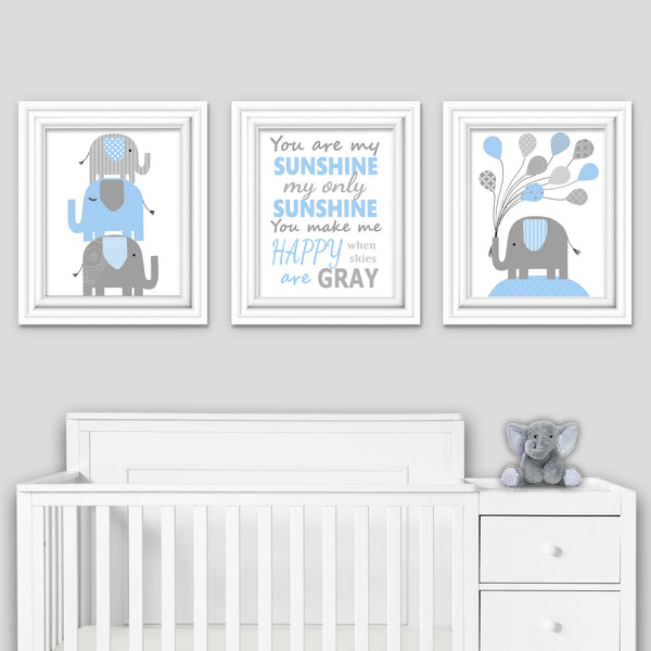 you are my sunshine nursery print with two elephant prints