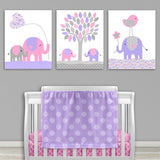 Pink and purple elephant nursery canvas prints