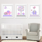 Set of three elephant nursery prints in pink and purple
