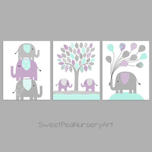 Elephant Nursery Decor, Baby Girl's Room, Girl Nursery Art, Grey Mint Purple, Baby Girl Elephant