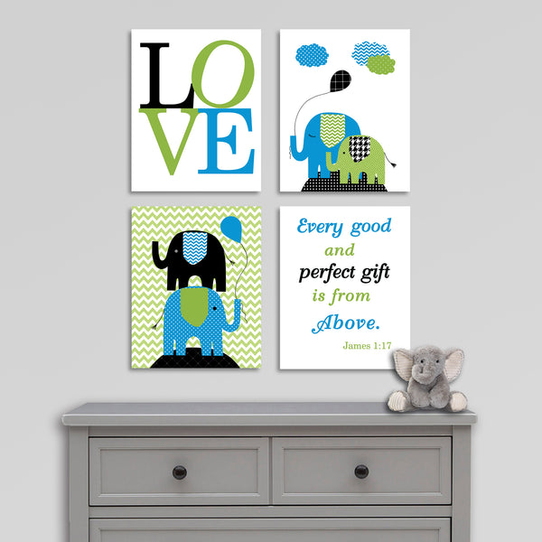 black, blue and green nursery canvas art