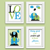 black, blue and green nursery prints