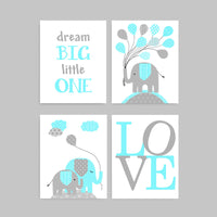 Set of four aqua and gray nursery pictures with elephants, dream big little one and LOVE print