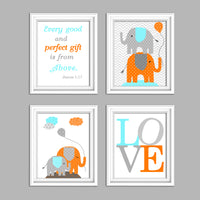 aqua and orange elephant nursery wall decor