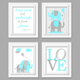 set of four aqua and gray elephant nursery pictures