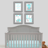 set of four elephant prints in aqua and gray