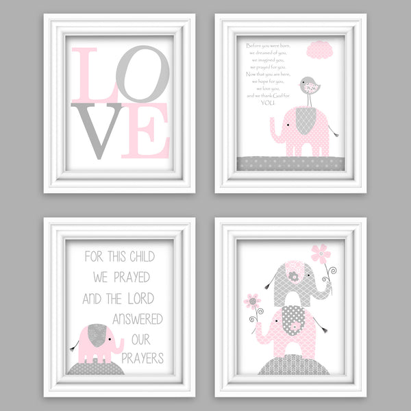 set of four baby pink and gray elephant nursery prints