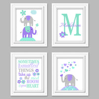 mint and purple nursery pictures