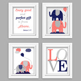 Coral, grey and navy elephant nursery pictures