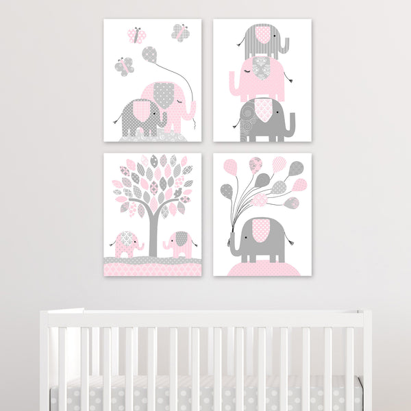 pink elephant canvas set