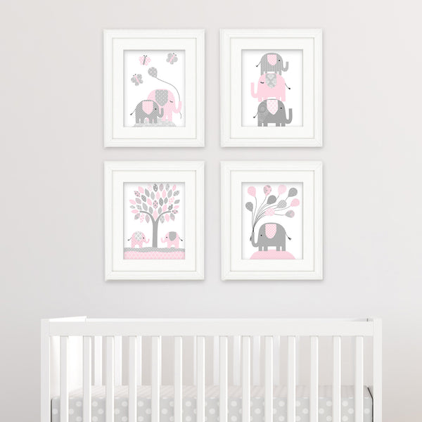 pink and grey elephant prints