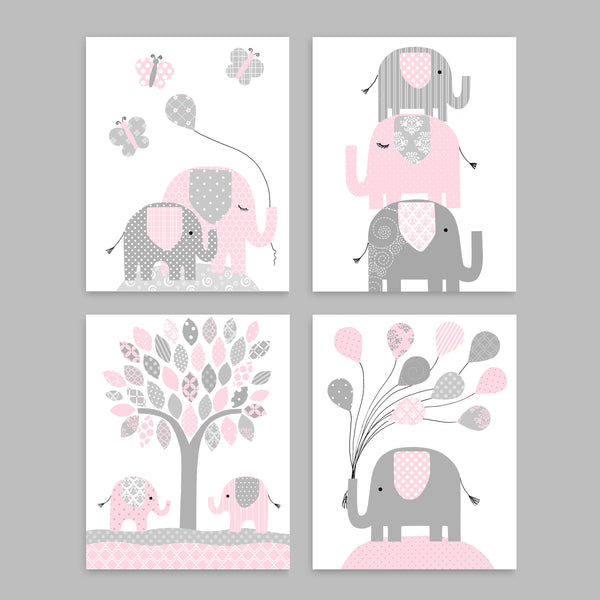 Printable Pink and Grey Elephant Nursery Art, Set of 4 Prints, Digital Files, Instant Download