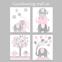 set of four gray and baby pink elephant nursery art prints