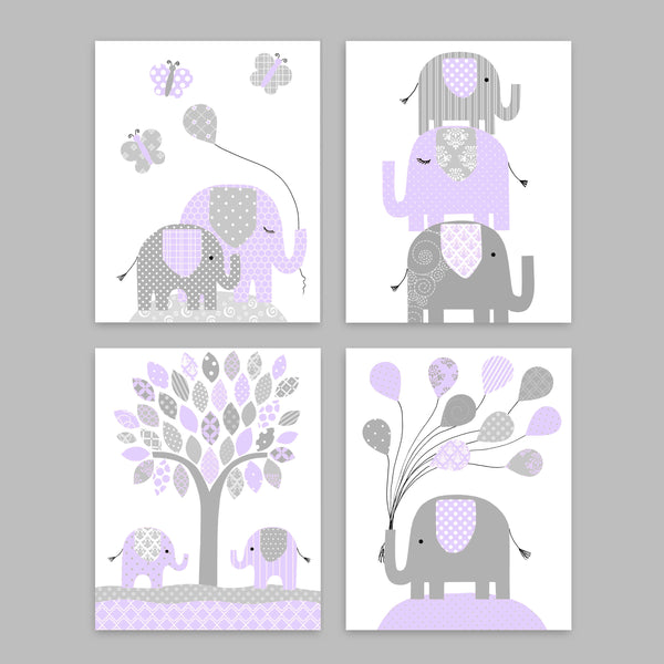 set of  grey and purple elephant baby girl nursery prints on canvas or paper