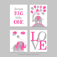 hot pink and gray elephant nursery decor