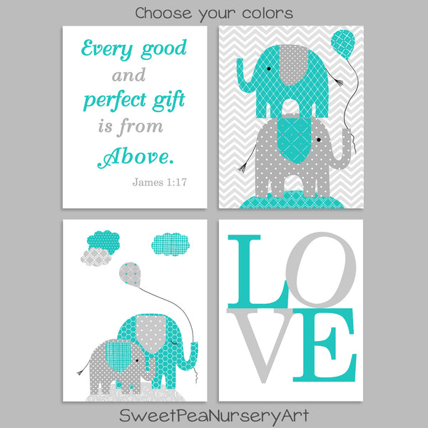 grey and teal elephant nursery decor