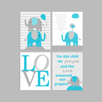 elephant nursery art in gray and turquoise