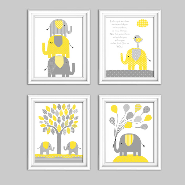Set of 3 elephant nursery pictures in gray and yellow