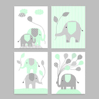 Set of four grey and mint elephant nursery art prints