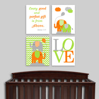 Orange and green elephant canvas art