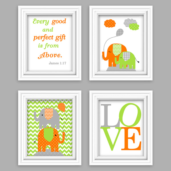 Set of four orange and green elephant nursery pictures