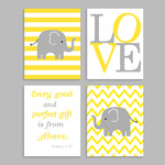 set of 4 elephant nursery art prints in yellow and gray