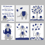 set of six grey and navy elephant nursery art prints