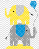 nursery print with two elephants stacked holding balloon in blue, yellow and grey.
