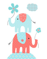 Nursery print with elephants stacked holding flowers