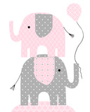 Nursery print of two elephants stacked holding a balloon
