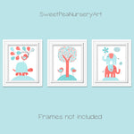 set of 3 aqua and coral nursery illustrations