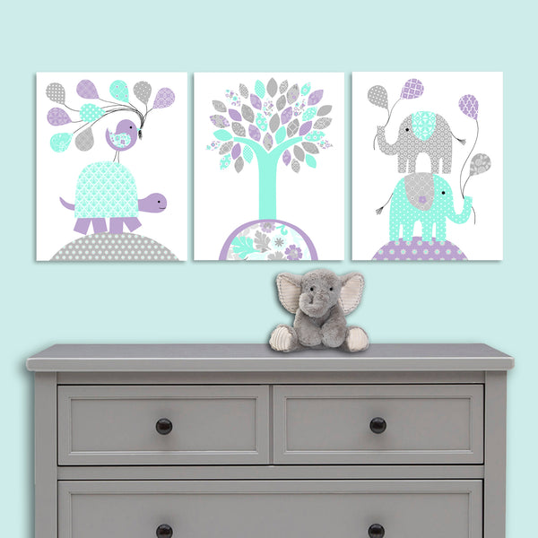 Mint and purple nursery art prints