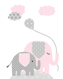 Nursery print of a mama and baby elephant holding a balloon
