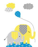 blue, yellow and grey elephant nursery print