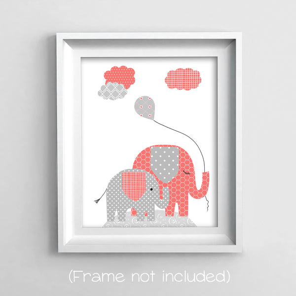 coral and gray elephant canvas