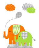 Mama and baby elephants with balloon
