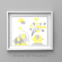 grey and yellow elephant nursery picture