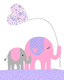 elephants with balloon nursery print