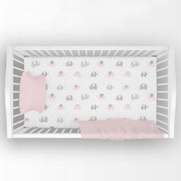 gray and pink elephant fitted crib sheet