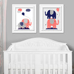 coral and navy elephant baby decor