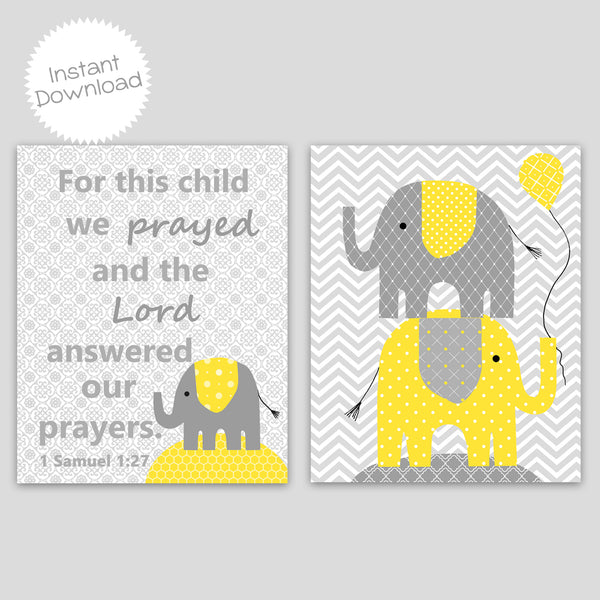 Printable Elephant Nursery Decor | Print Yourself | DIY | Yellow and Grey | Gender Neutral