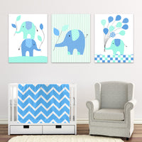 blue and mint green elephant nursery prints