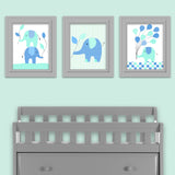blue and aqua elephant baby decor