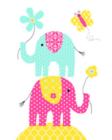 elephants stacked with flower and butterfly baby girl nursery art print