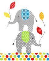 Printable Elephant Nursery Pictures | Set of 3 Files | Rainbow Bright Colorful | Gender Neutral