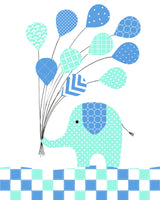 elephant and balloons baby boy picture
