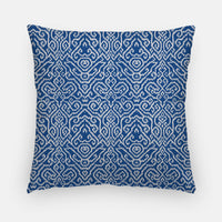 Blue Damask Throw Pillow | Bohemian Pillow Cover | Many Sizes | Square or Rectangle